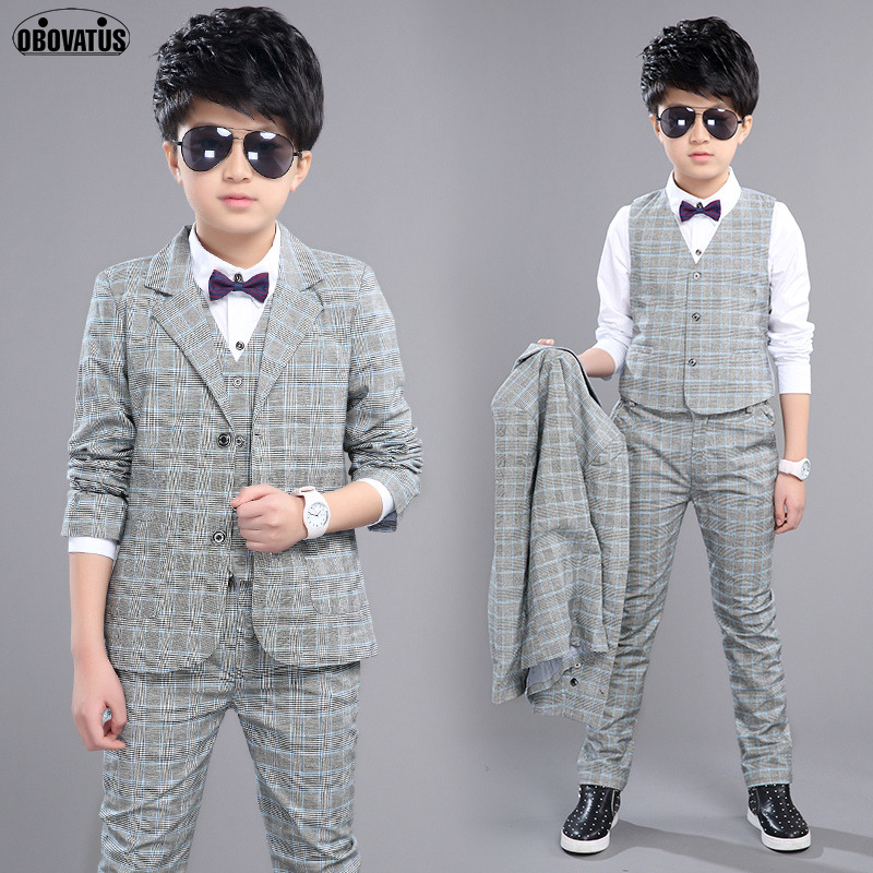 Boys Suits for Kids Plaid Wedding Suit Blazer & Vest & Pants Formal Sets 4 10 12 Years Boys Blazers Child Party Perform Costumes boys formal suits set weddings birthday child kids fashion party tuxedos boys plaid formal suits blazer vest pants 3pcs h027