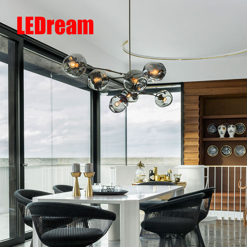 e27 Modern Nordic Industrial Pendant Lights Black Gold Bar Stair Dining Room Glass Shade home decoration  Pendant Lamp Fixtures nordic modern e27 led bronze chrome glass pendant lamp lights fixtures for cafe bar home restaurant dining room hall club decor