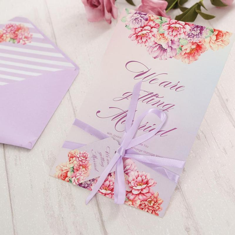 10Pcs/Lot Wedding Invitation Card With Ribbon Envelope Carved Peony Pattern Wedding Birthday Gifts Cards Greeting Card K3 30pcs in one postcard take a walk on the go dubai arab emirates christmas postcards greeting birthday message cards 10 2x14 2cm