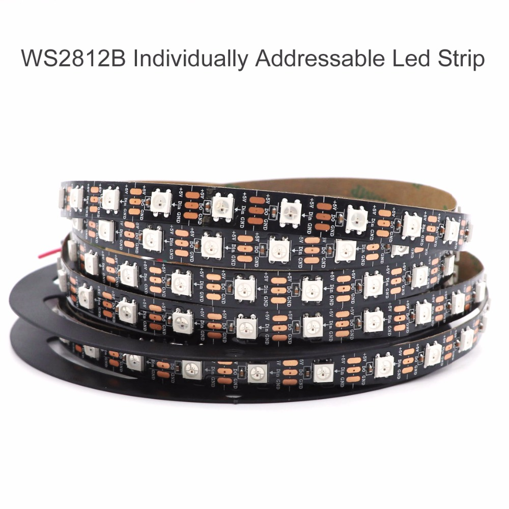 1W / 2M / 5M WS2812B LED RGB Stripable Addressable LEDs 30/60/144 LEDs / m 2811 IC مدمج 5050LED IP30 / IP65 / IP67 5V بكسل ذكي