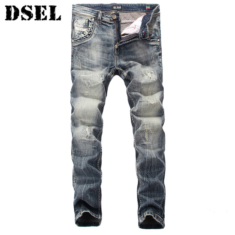 цена на DSEL Brand Men Jeans High Quality Slim Fit Destroyed Ripped Jeans For Men Casual Pants Nostalgia Retro Wash Vintage Biker Jeans