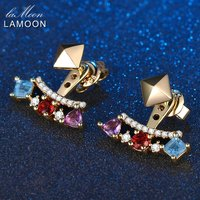 LAMOON 925 Sterling Silver Earrings Natural Amethyst Garnet Topaz Stud Earrings Unique Gemstone Fine Jewelry EI003