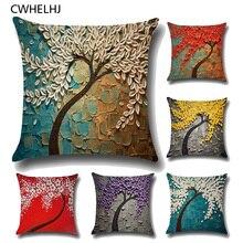CWHELHJ 3D Painting Trees Decorative Pillow Case Cover Cotton Linen Flowers Printed Pillowcase Home Textile Kids