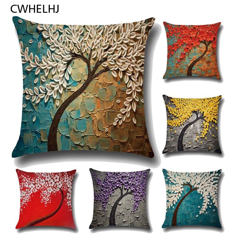 CWHELHJ 3D Painting Trees font b Decorative b font Pillow Case Cover Cotton Linen Flowers Printed