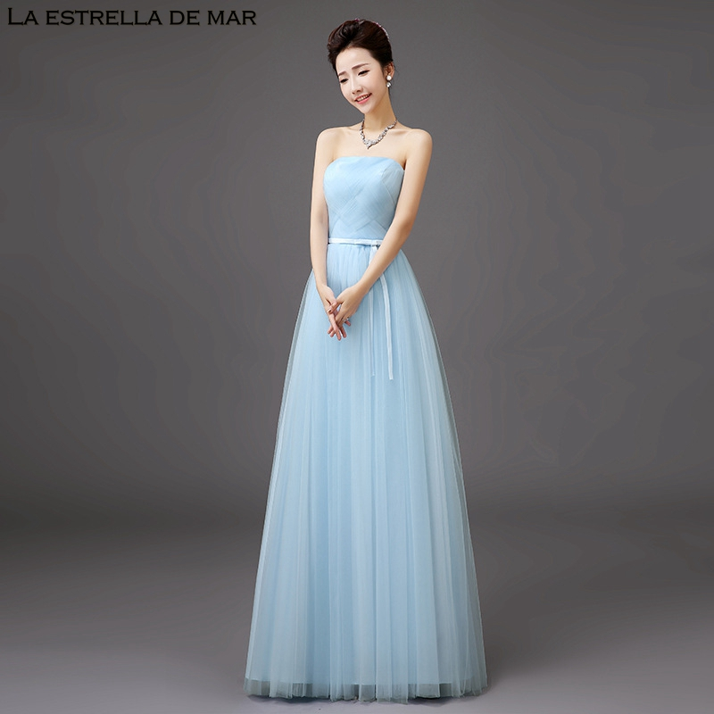 d1a0590be7 Aliexpress.com : Buy Vestido madrinha2018 new Tulle sexy Strapless a Line  sky blue bridesmaid dresses plus plus size gaun pesta dewasa cheap from ...