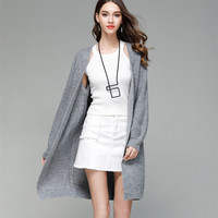womens sweaters 2018 fall oversized knitted sweater cardigan ladies long coat plus size autumn loose chunky knit sweater 0607131