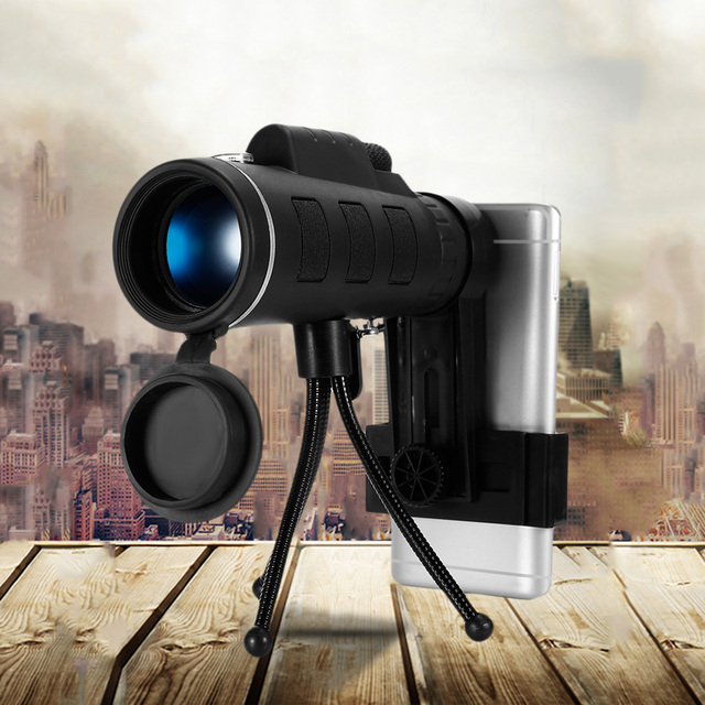 40X60 Monocular Telescope BAK4 prism lens HD night Vision Prism Scope 1500/9500m view FMC green with Compass Phone Clip Tripod