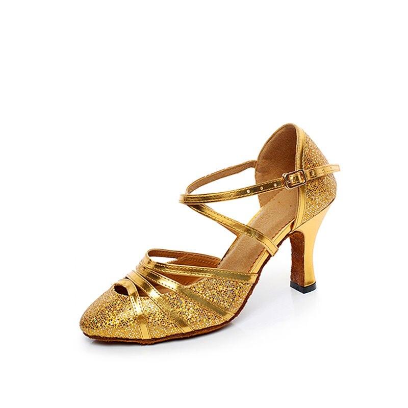 Party Ballroom Latin Dance Shoes Aerobic Closed Toe PU Sequins Jazz Sko til kvinder Upscale Flash Adult Dancing Sneakers 6118