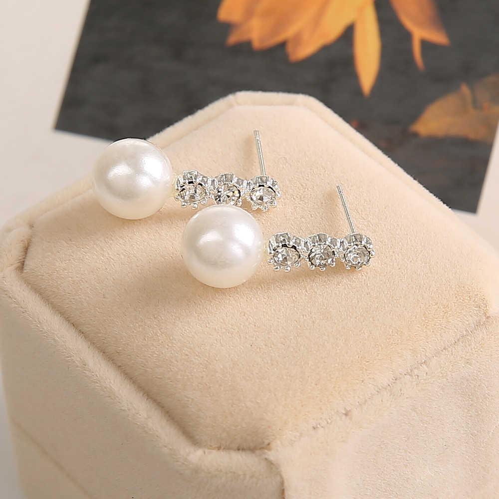 עגילי יהלומים מלאכותיים גביש סגסוגת האופנה של נשים של נשים מתנת תכשיטים סיטונאי אופנה משובצים שלושה עגילי פנינה גדולים