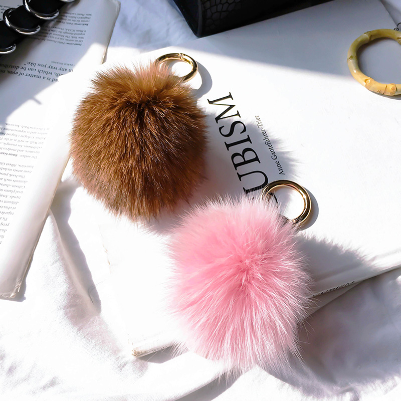 d38bbab431b3 Fluffy Real Fox Fur Pompom Monster Bag Bugs Charm Keychains Plush Pom Pom  Purse Key Ring Girl Holder Leather Lion Face Key Chain-in Key Chains from  Jewelry ...