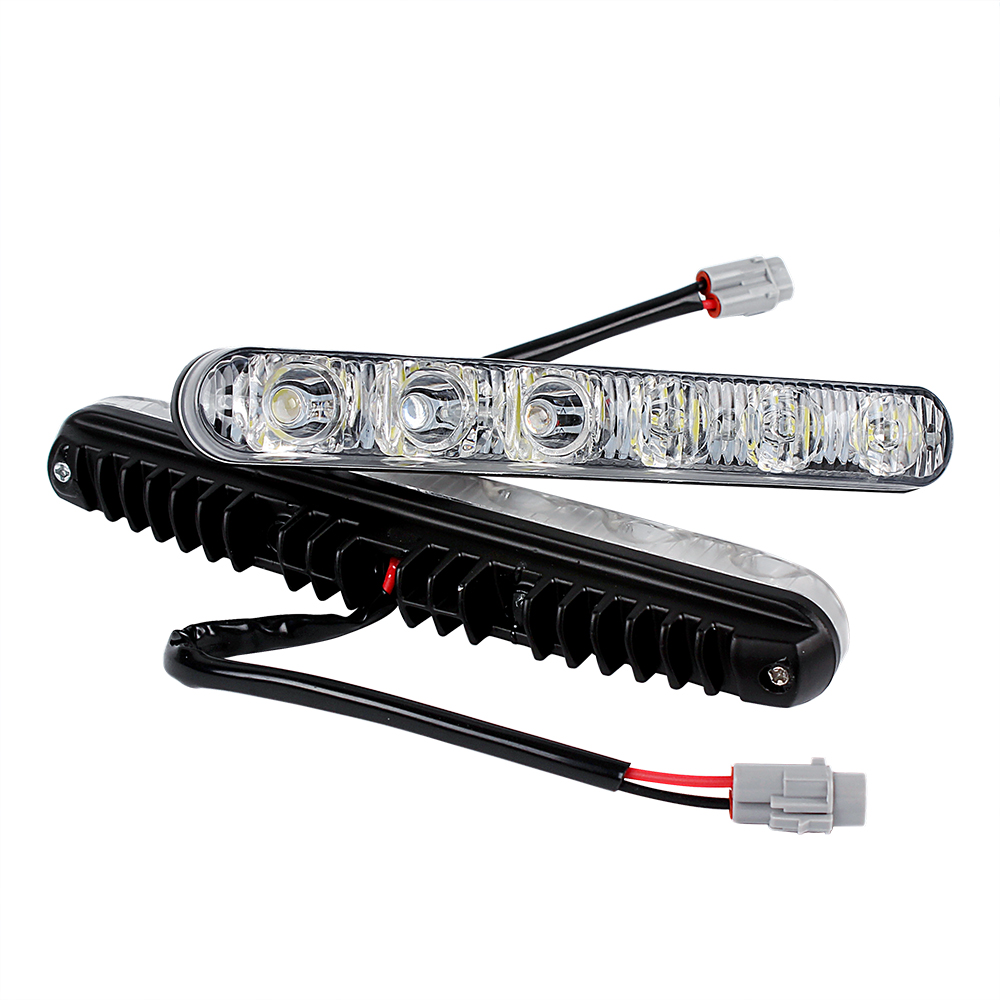 1 Pair Car Daytime Running Lights DRL 6 LEDs Universal Car Daytime LED Light Car Styling Waterproof DC 12V