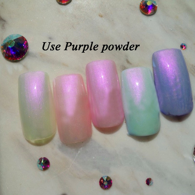 1 Box 3g Mermaid Nail Glitter Powder Pretty Gradient Shimmer Glitters Pigment Nail Powder Dust Laser Nail Art Decorations