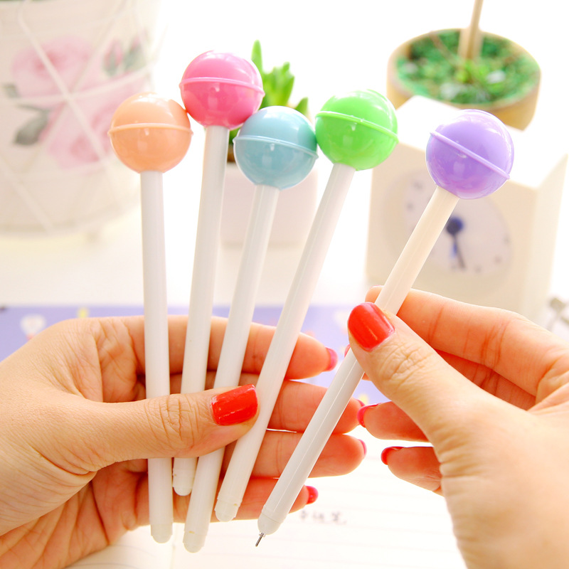 6 pcs/lot Cute Lollipop style gel pens for writing Candy color black ink pen for kids school office supplies kawaii stationery