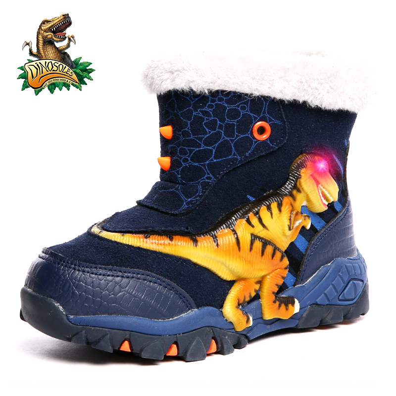 Dinoskulls Dinosaur Glowing Boys Boots Winter Snow Boots 2019 Kids Warm Plush Fleece Linning Led Light Up T-rex Children Shoes