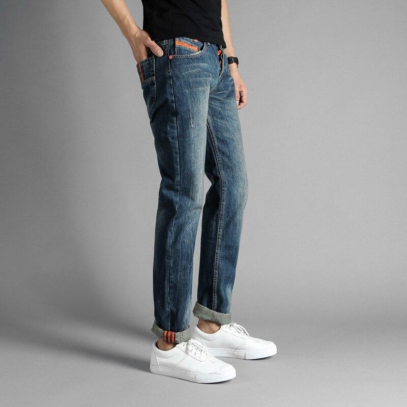 European American Fashion Streetwear Mens Jeans Orange Stripe Jeans For Men Denim Buttons Pants DSEL Brand Ripped Biker Jeans