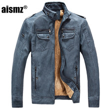 2017 New  New Fashion PU Men Leather Jacket Winter Thicken Warm Cool  stand collar jacket men spring leather jacket coat 5XL