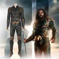 Movie Justice League Arthur Curry Aquaman Cosplay Costumes Superhero Halloween Costumes Green Jumpsuit Aquaman Costume