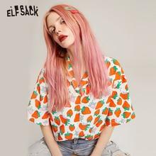 ELFSACK V צוואר מזדמן פירות הדפסת נשים שיפון חולצות 2019 קיץ Loose נקבה חולצות אופנה משרד ליידי חולצות