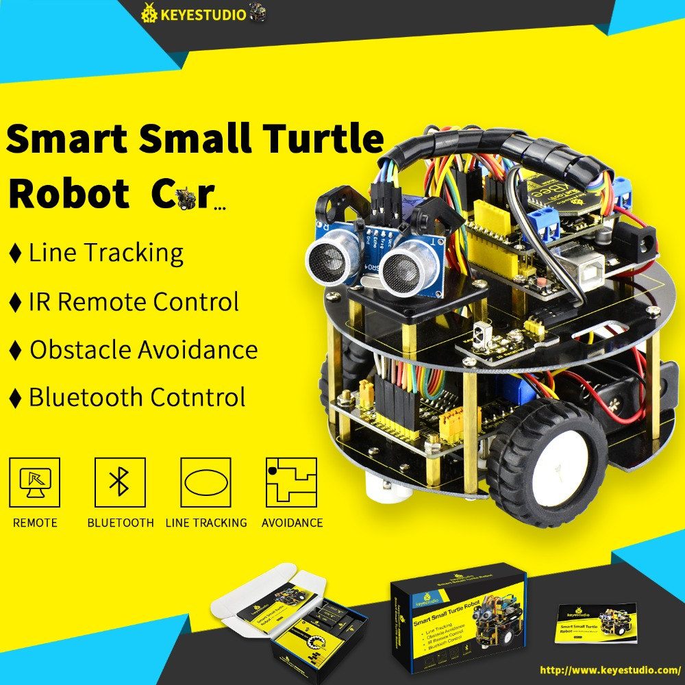 US $59 99 |Keyestudio Smart Small Turtle Robot car/Smart car for Arduino  Robot Education Programming+Manual+PDF(online)+7 Projects+Video-in Home