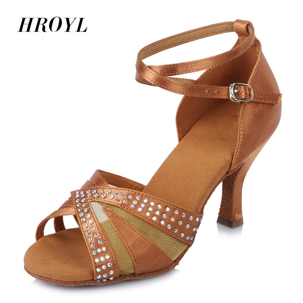 HROYL High Quality Professional Women Latin dance shoes customized heel soft bottom Salsa party ballroom dancing shoes AFHJ satin with rhinestone dancing shoes for women ladies square heel ballroom dance shoes luxurious salsa shoes free shipping 6394