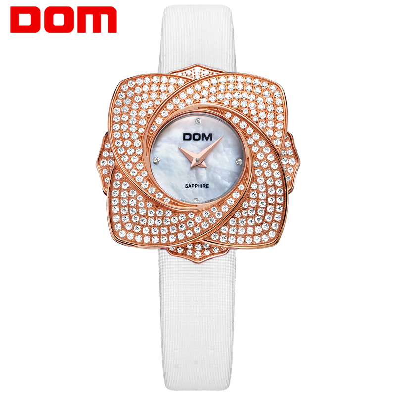 DOM women luxury brand watches waterproof style quartz leather sapphire crystal watch G-637GL-7M