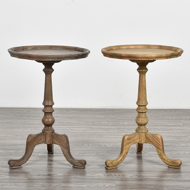 Oak Small Round French Country Side Table Solid Wood Corner Small Mini Side  Table Curved Flower