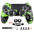 Green Splatter Custom Hydro Dipped Top Bottom Shell Full Controller Housing Case Button kit+Gifts for DUALSHOCK 4 PS4 Controller