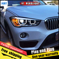 2PCS Car Style LED headlights for BMW X1 2016 for X1 head lamp LED DRL Lens Double Beam H7 HID Xenon bi xenon lens