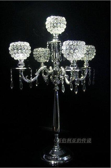1set/4piece H76cm 5branch floor wedding candelabra crystal ...