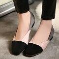 Европейский улица свободного покроя стиль личности квадратных ног мокасины комфортной подбора цвета скольжения розовый красный черный плоским женская обувь