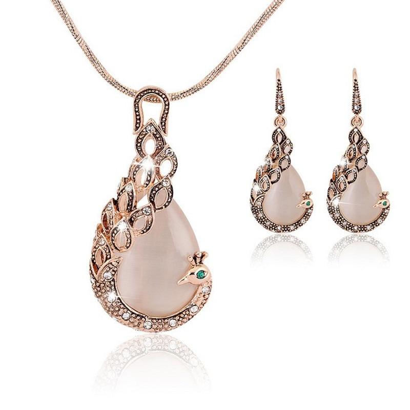 344df4743ac1 2017 Fashion Design Bridal Jewelry Sets Gold Color Opal Rhinestone Peacock  Earrings Necklaces Set For Women parure bijoux femme