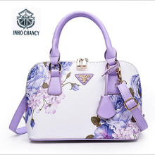 Printed Luxury leather  shell package 2017 new women handbag Famous brands designer shoulder Messenger bag