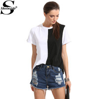 Sheinside Women Summer T-shirt Colorblock Short Sleeve Tops Casual Patchwork Clothing 2017 Fashion O Neck Slim Novelty T-shirt