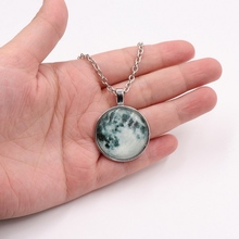 Original Glow In The Dark Moon Necklace Women Silver Chain Luminous Galaxy Planet Glass Cabochon Pendant Jewelry Gift