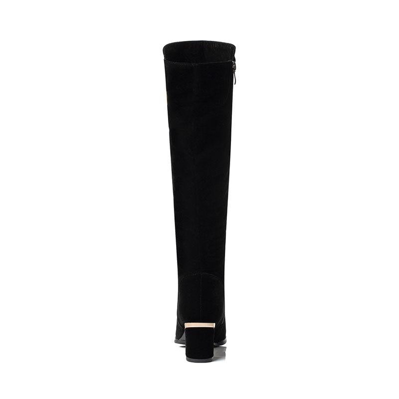 Zapatos Pie Puntiagudo Moda Invierno Planos Dedo Negro Fanyuan De Ocasionales Botas Caballero Rodilla Trabajo Mujer Metal La Black Decoración Tira Del Z7BwUq