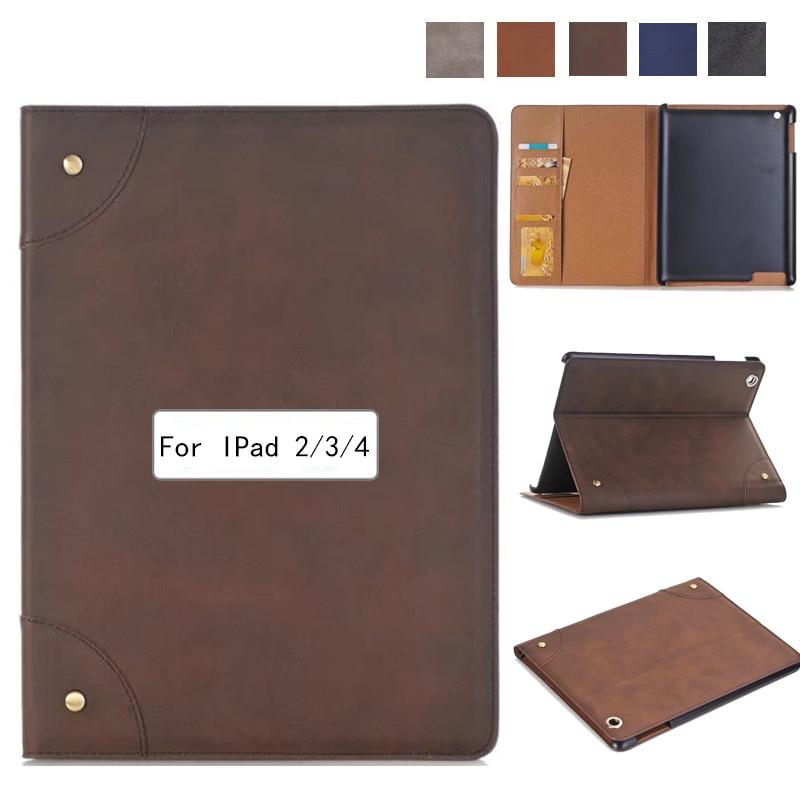Business Retro Leather Case For Ipad 2/3/4 Case For Ipad2 Ipad3 Ipad4 Flip Stand Smart Cover Protective Shell Skin Funda