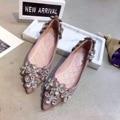 Rosa Negro Gris Punta estrecha y Zapatos Planos Para Mujer Plana Zapatos Planos De Las Mujeres de Las Señoras Zapatos Planos de Pisos de Novia de Diseñadores