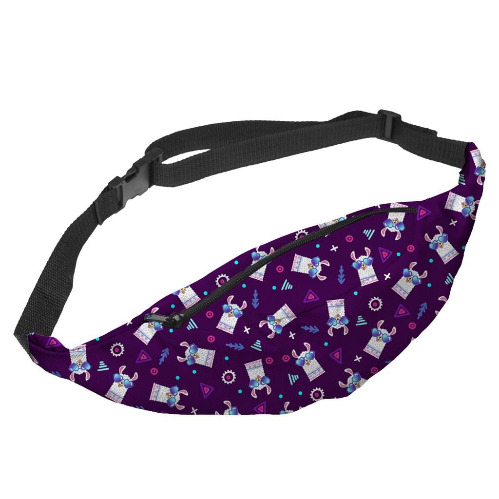 New Purple Alpaca Crossbody Bag 3D Digital Print Sports Bag Explosion Cute Women Waist Bag Fashion Fanny Packs Woman Bag 2019
