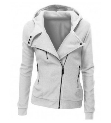 Basic Jackets Jacket Women Fashion Women Coat Diagonal Zipper Hooded Sweater Casual Dress