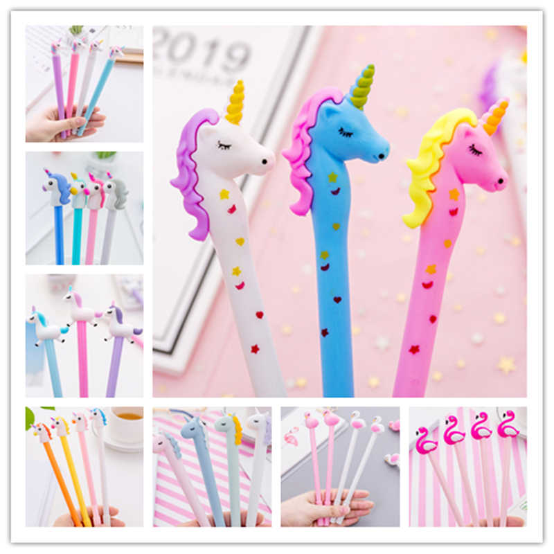 0.38/0.5mm Creative Unicorn Flamingos Gel Pen Signature Pen Escolar Papelaria For Office School Writing Supplies Stationery Gift