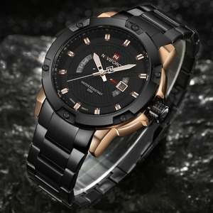 Image 4 - 最高級ブランドメンズ腕時計naviforce男性フルスチール日付防水スポーツメンズアーミーミリタリークォーツ腕時計時計リロイhombre