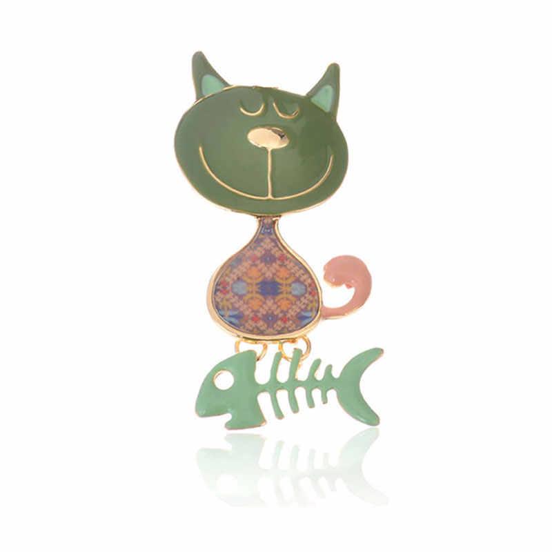 Kartun Kucing Ikan Tulang Bros Lucu Enamel Bros Pin untuk Wanita Pria Fashion Vintage Zinc Alloy Perhiasan Gaun Aksesoris