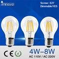 IMINOVO Estilo Filamento da Lâmpada Retro Edison Dimmable A60 E27 4 W 6 W 8 W 110 V 220 V Branco Quente/Branco de Vidro Transparente Do Vintage lâmpada