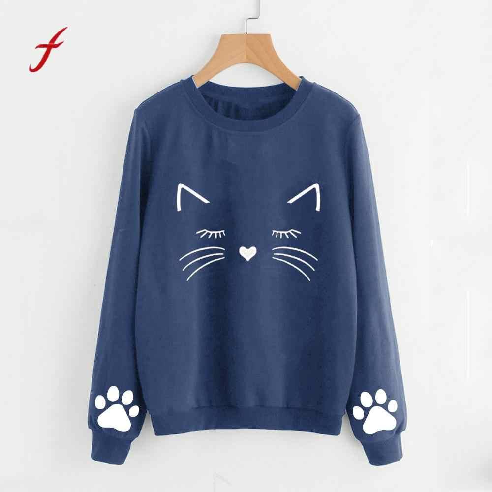 2018 New Fashion Women Hoodie Autumn And Winter Cat Weater Round Neck Long Sleeve Regular Blouse Plus Size Hoodie Women XXL