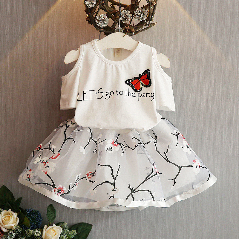Baby Girls Clothes 2016 Recién llegado Baby Girls Dress Camiseta de manga corta de verano Top Hole Floral Dress 2PCS Outfit Child Dress