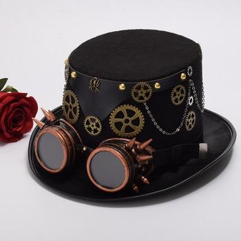 Шляпа в стиле стимпанк с очками вариант 6