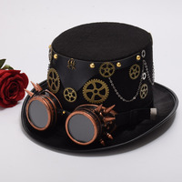 Chapeu Fedora Gothic Unisex Steampunk Top Hat With Goggles Halloween Cosplay Head Wear