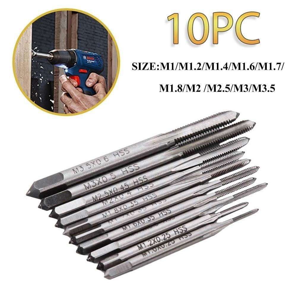 10pcs Straight Fluted Metric Thread Tap Set Mini M1 To M3.5 Screw Thread Taps 55 Degree For Power Tool цена