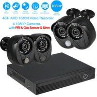 LEEKGOTECH Cloud Based 4CH 1080P 2MP DVR CCTV AHD Camera Kit with Alarm Sensor For Home Shop Security