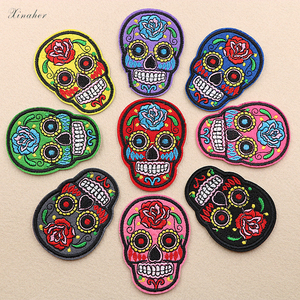 9pcs/lot Punk Rock Skull Embroidery Patches Various Style Flower Rose Skeleton Iron On Biker Patches Clothes Stickers Applique(China)